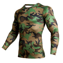 Camouflage Long T-shirt MMA Rashgard Compression Shirt Sports Mens Running Tights Gym Fitness Quick Drying Yoga Sport Clothes