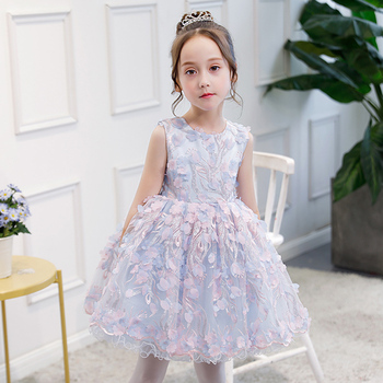 Girls Sleeveless O-neck Short Happy Birthday Party Dress for Kids Flower Pattern Wedding Flower Girl Dress Clothing for Children