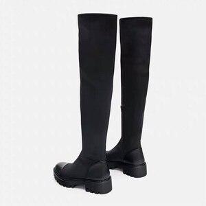 Image 3 - 2020 Slim למתוח לייקרה הברך גבוהה מגפי פלטפורמת חורף מגפי נשים ארוך מגפי חורף נעלי נשים גרב מגפי מעל את הברך מגפיים