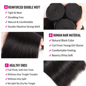 Image 4 - Shireen Brazillian Menschliches Haar Weave 3 Bundles Mit Verschluss 100% Remy Gerade Haar Bundles mit 4x4 Spitze Schließung natürliche Farbe