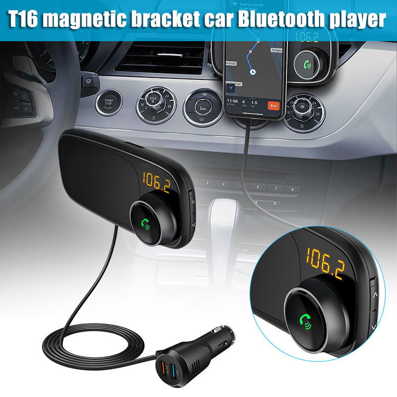 High Quality Car Bluetooth FM Transmitter with Magnetic Phone Holder QC 3.0 Charging MP3 Music Player