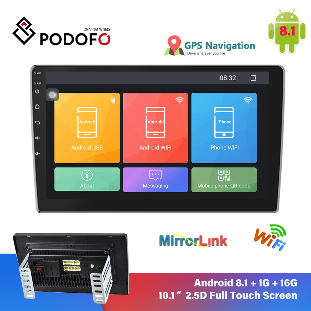 Podofo <font><b>Android</b></font> <font><b>8.1</b></font> <font><b>2Din</b></font> Auto Radio Multimedia Video Player Universal Auto Stereo GPS Bluetooth Für Volkswagen Nissan Hyundai image