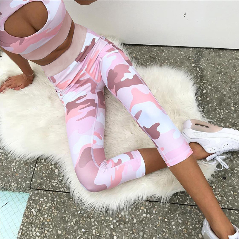 2Pcs Seamless Printing Yoga Set Capri Pants + Bra Fitness Gym Sportswear Active Wear Leggings Camo Workout Sports Suits