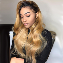 Ombre Body Wave Human Hair Wigs For Women Honey Blonde Colored Lace Part Wig 1B/27 Brown