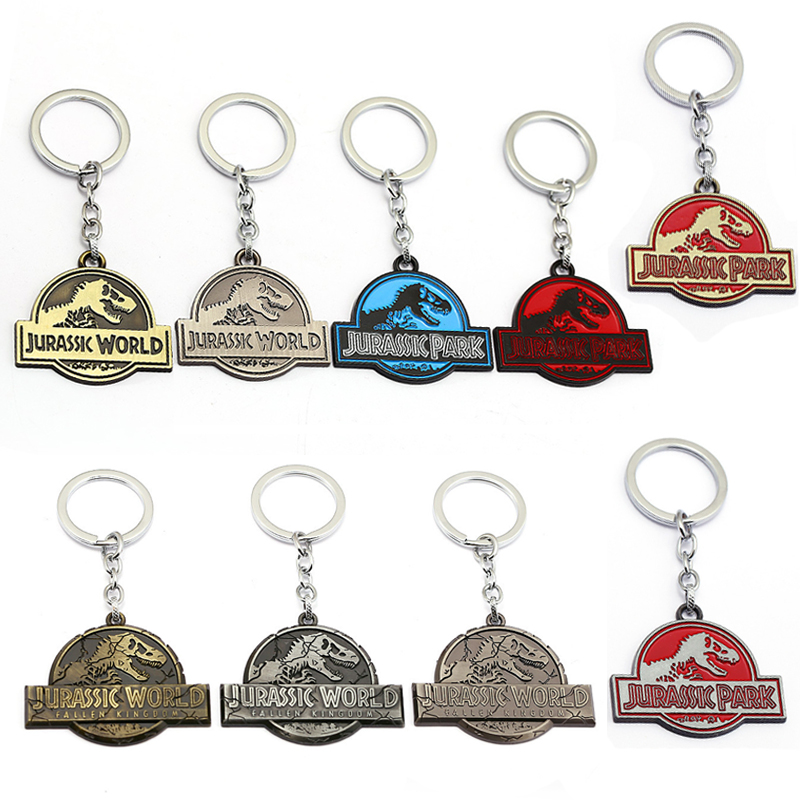 Hot Sale Jurassic Park Dinosaur Key Chain Jurassic World Pendant Metal Keyrings Holde For Women Men DC Comic Superhero Chaveiro