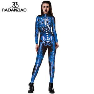 Image 5 - NADANBAO Neue Rose Skeleton Kostüm Overall 3D Drucken Scary Halloween Kostüme Für Frauen Mechanische Schädel Plus Size Body