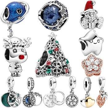 2020 inverno novo 925 prata esterlina contas estrelas e flocos de neve charme caber pan original pulseira jóias de natal