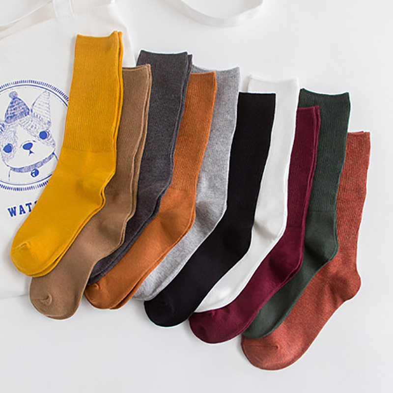 5 pair/10 pair College Style Students Socks New Spring Female Cotton Socks group Women's Beautiful Casual Soft Solid Color Socks