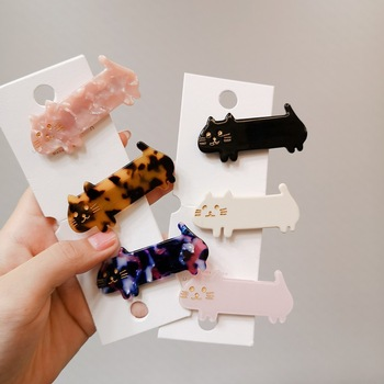 Romantic Cute Girls Hair Pin Fashion New Animal Barrettes Hairpins Classic Cat Acetate Clips For Women Accessories