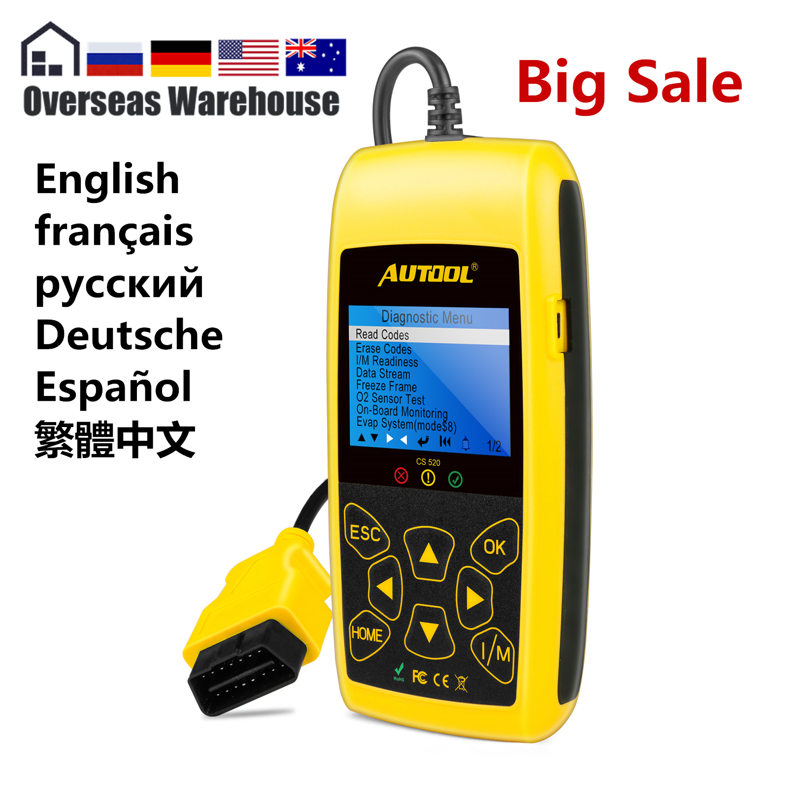 AUTOOL CS520 Car OBD2 OBDII Code Reader CANBUS  OBD 2 Scanner Automotive Diagnostic Tool With Digital  LED Dispaly PK AD410