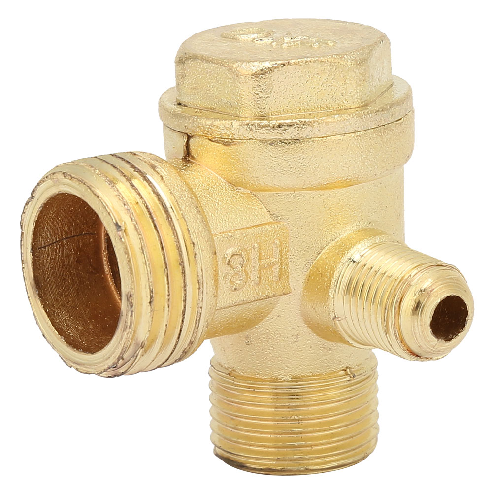 Air Compressor Brass Three-way Unidirectional Check Valve Connect <font><b>Pipe</b></font> <font><b>Fittings</b></font> image