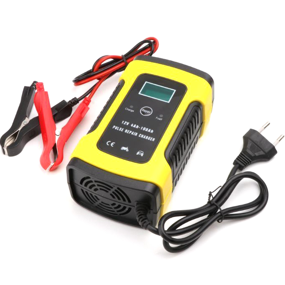 12V 6A Pulse Repair Smart Charger With LCD Display For Motorcycle Car Battery 12V AGM GEL WET Lead Acid Battery Charger EU Plug(China)