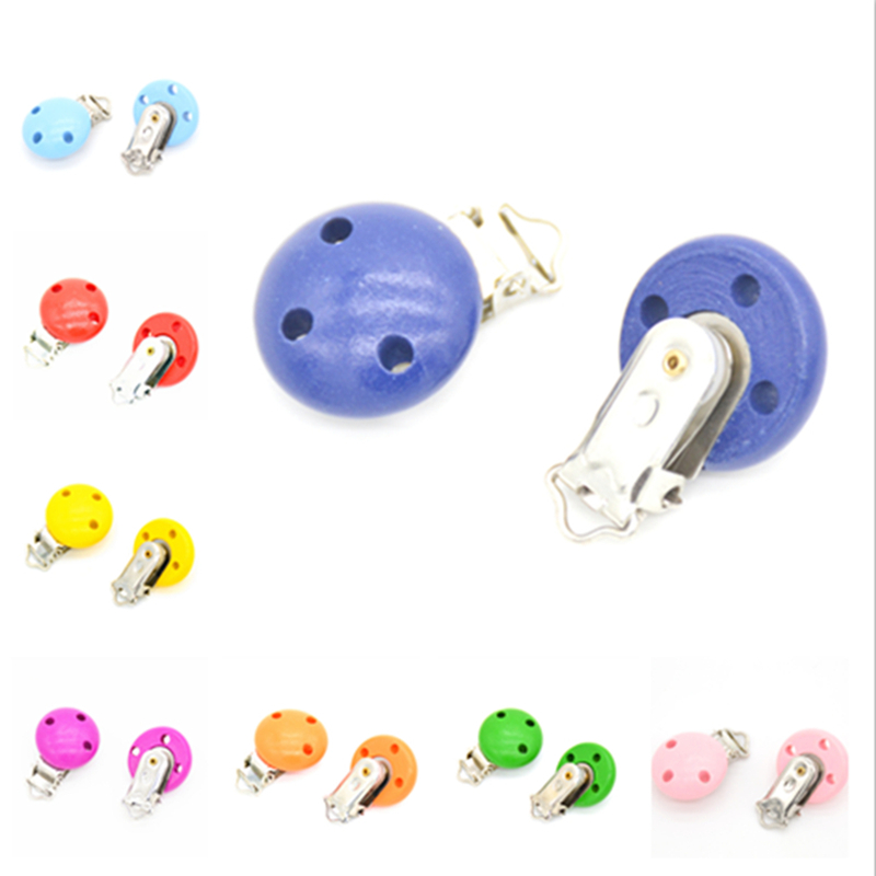 5pcs/lot Wooden Baby Children Pacifier Holder Clip Infant Cute Round Nipple Clasps For Baby Product Hole 4.4cm X 2.9cm 16 Colors