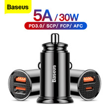 Baseus – chargeur de voiture double USB 5A, charge rapide, 2 ports 12-24V, allume-cigare, adaptateur secteur pour iPhone 12