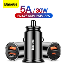 Baseus Dual USB Car Charger 5A Fast Charing 2 Port 12-24V Cigarette Socket Lighter Car USBC Charger for iPhone 12 Power Adapter