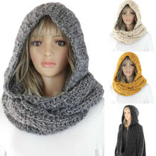 Inverno das mulheres malha com capuz snood cachecol chapéu pescoço mais quente hoodie cachecóis moda