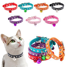 Leather Small Dog Collars Rhinestone Collars For Dogs With Bell Puppy Teddy Kitten Dog Supplies Cat Dog Accessories Cat Collars(China)