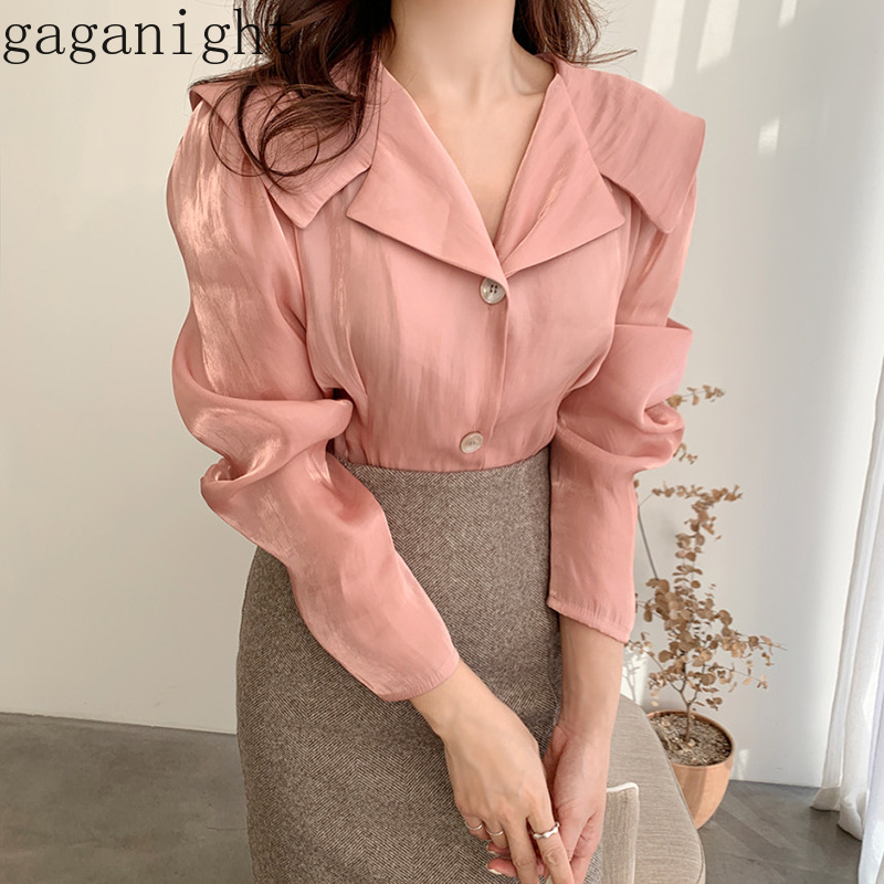 Gaganight Solid Elegant Women Chiffon Blouse Long Sleeve V Neck Spring Shirt Office Lady Loose Button Chic Blouses Korean Blusas