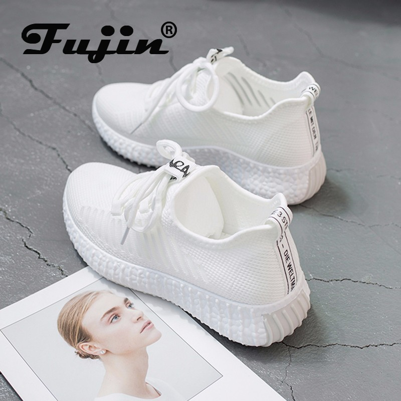Fujin Women 2020 Sneakers Spring Fashion Cross Tied Thick Bottom Round Toe High Heels Mesh Rubber Lace Up Causal Women Shoes
