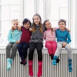 Зимнее детское термобелье из мериносовой шерсти; комплект из более плотного топа и штанов; одежда для маленьких мальчиков и девочек; подшта...