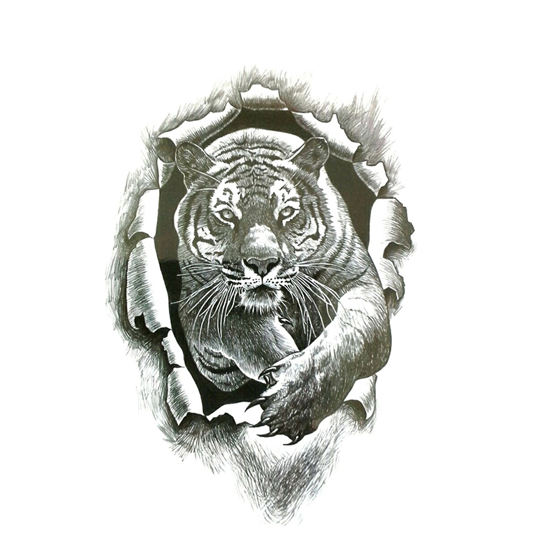 Tiger Burst Temporary Tattoo Sticker 3D Realistic Waterproof Transfer Men Women Black Tattoo Sticker Body Art