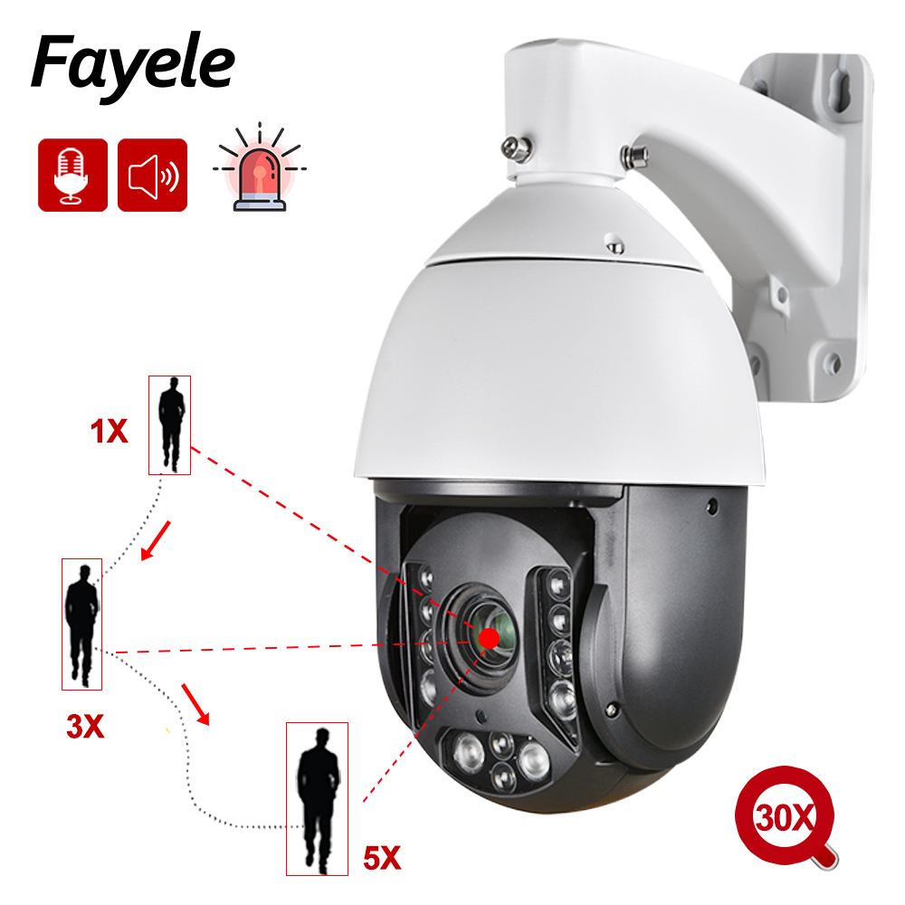 1080P Smooth Auto Tracking Person PTZ Camera Starlight 30X Zoom Audio Voice Flash Alert Alarm Defense IP Camera IR 200M ONVIF Q9