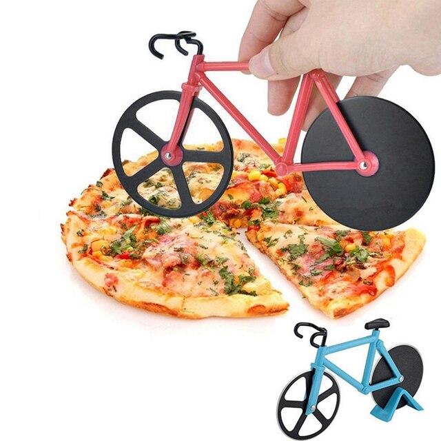 Nóż do pizzy rowerowej nieprzywierający dwukołowy kształt roweru nóż do pizzy z uchwytem narzędzie do pizzy ze stali nierdzewnej kuchnia