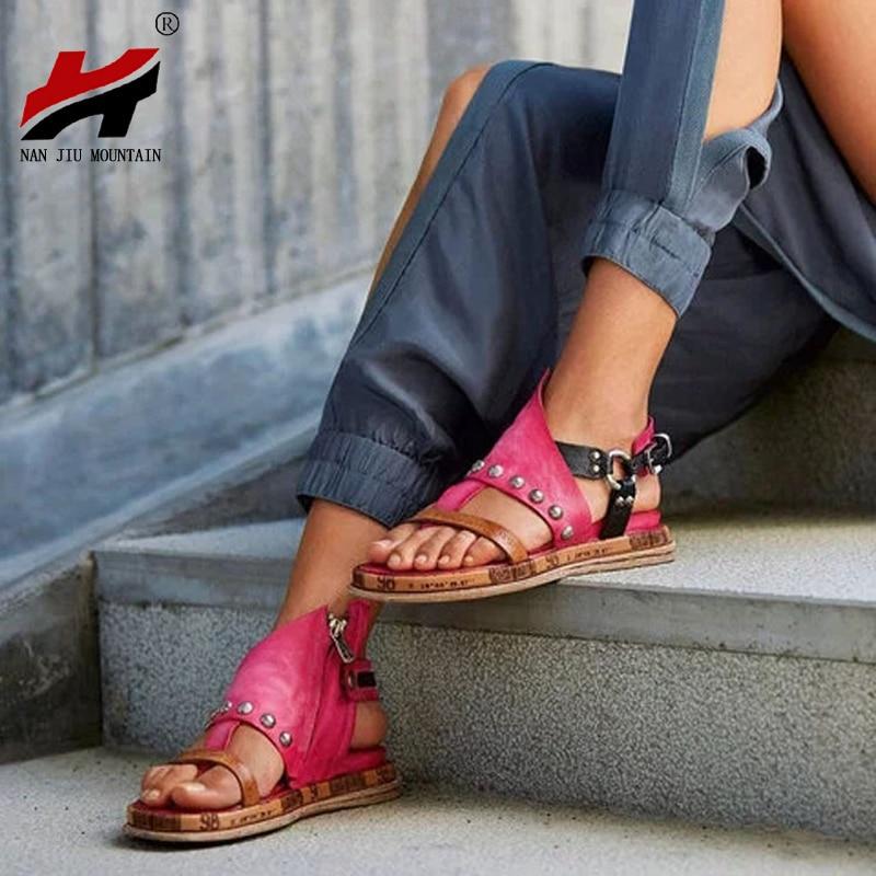 NAN JIU MOUNTAIN Women's Flat Sandals Metal Decoration Studs Side Zips Casual Women's Shoes 6 Color Summer Toe Beach Shoes