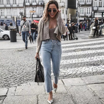 ZA 2020 spring new women's solid khaki cardigan knitted sweater Casual two pieces set fashion streetwear sexy female tops 8