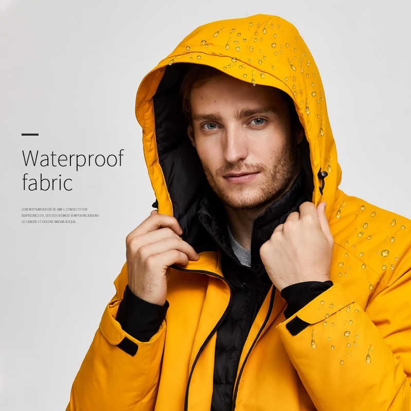 Tigre força oversize jaqueta de inverno dos homens jaqueta esporte de esqui para homens jaqueta de neve à prova dwaterproof água falso dois com capuz jaqueta masculina engrossar casaco