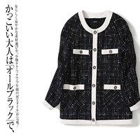 New arrival 2020 spring autumn women jacket color block black tweed jackets elegant mid length 4 pockets outerwear
