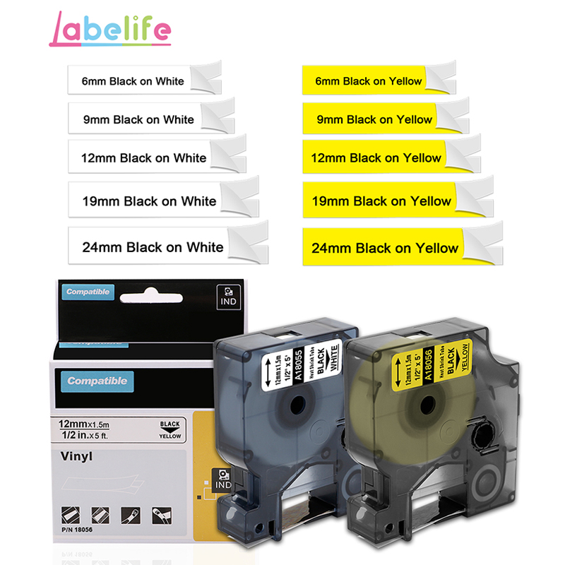 Heat Shrink Tube Wire Cable Label Tape 6//9//12//19//24mm for DYMO Rhino 1000 3000