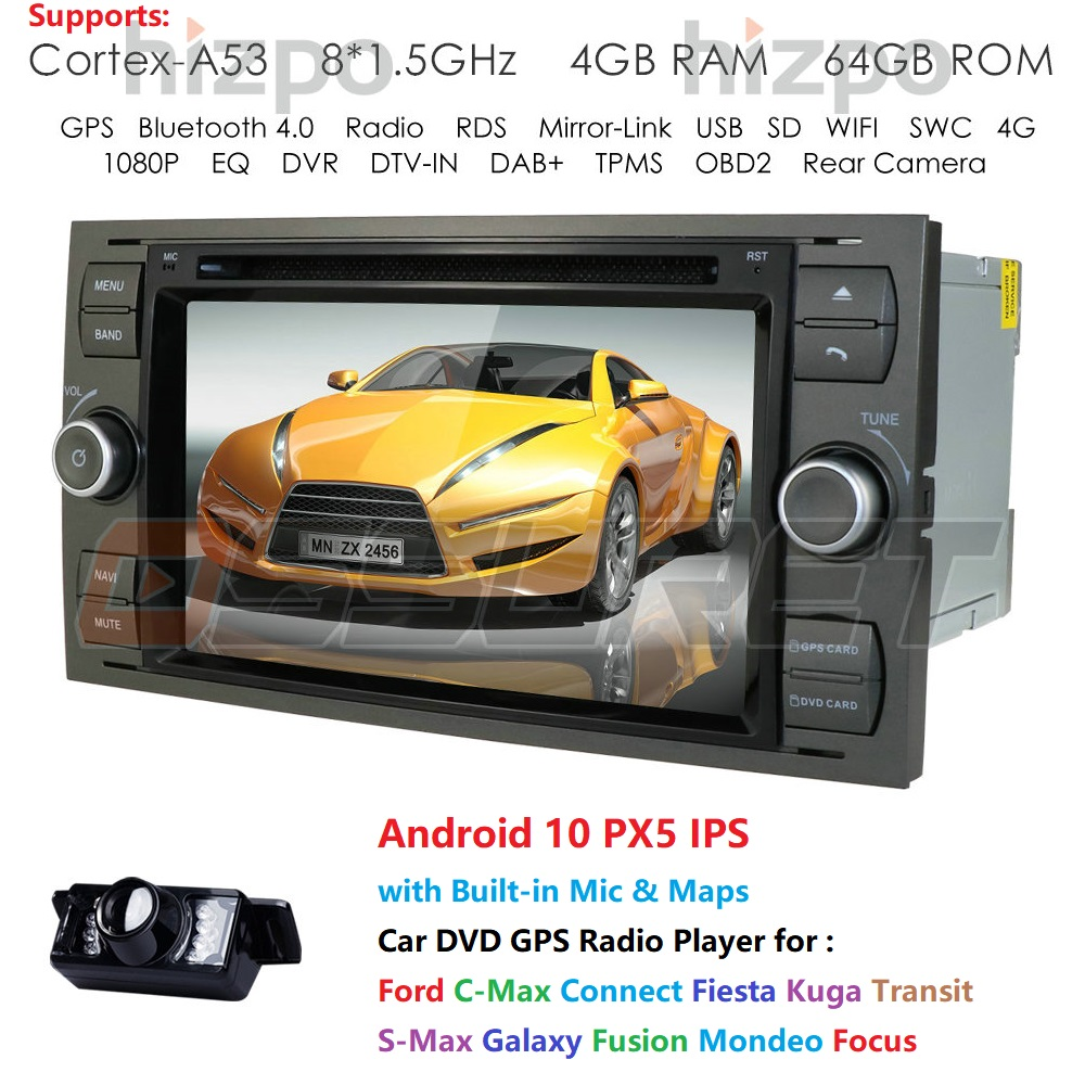DSP IPS 2din Android10.0 4GB 64GB Car <font><b>GPS</b></font> For <font><b>Ford</b></font> Mondeo S-max Focus C-MAX Galaxy Fiesta <font><b>transit</b></font> Fusion Connect kuga DVD Player image