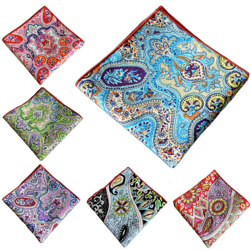 Men's Pocket Square Paisley Floral Printed Cotton Colorful Hanky Handkerchief