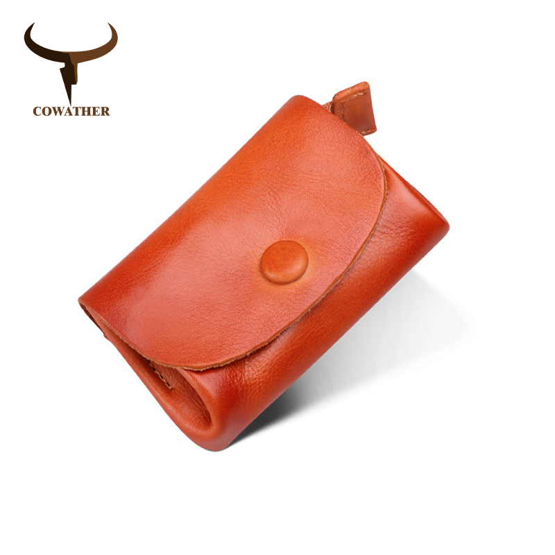 COWATHER Coin Purse For Women High Quality 100% Cow Leather Fashion Female Wallet Card Coin Holder New Arrival Free Shipping