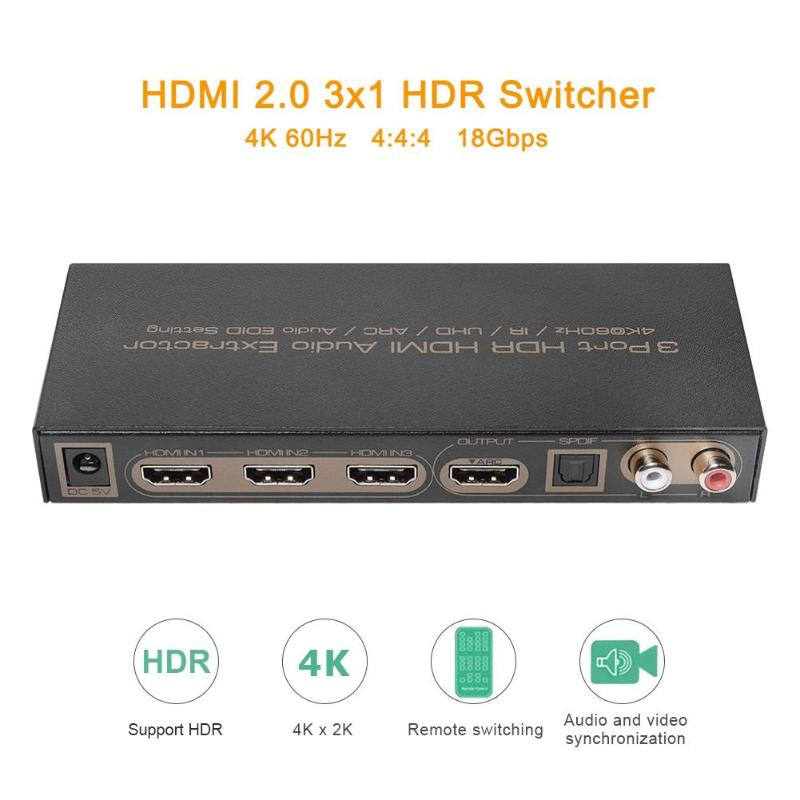 3X1 HDMI Switch Audio Extractor 3 Port HDR Switch Splitter For XBox One Laptop  Achieving Synchronized Separation Audio Output