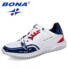 BONA 2019 New Designers Mens Shoes Comfortable Outdoor Casual Mens Shoes Lace Up Cushion Sneakers Male Leisure Footwear Trendy