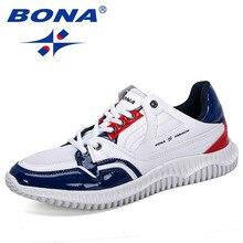 Мужские дизайнерские кроссовки BONA, черные повседневные уличные кроссовки на шнуровке, с подушкой, для отдыха, 2019