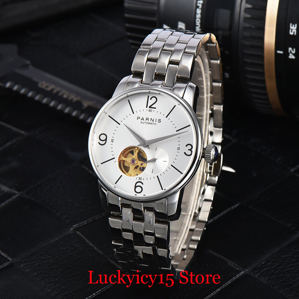 PARNIS Sapphire Glass Luxury Special Design 38mm Polished Men Wristwatch Stainless Steel Bracelet Black/White Dial image