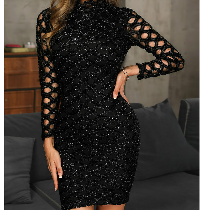 Women Autumn Vintage Bodycon Mini Dress Evening Party Club  Hollow-out  Sleeve Jersey Stretch Casual Club Dress Vestidos