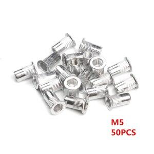 Image 3 - 50PCS Aluminum Alloy/Carbon Steel M3 M4 M6 M8 M10 Rivet Nuts Flat Head Rivet Nuts Set Nuts Insert Riveting