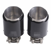 Glossy Black Exhaust Pipe Steel Real Carbon Fiber Car Exhaust Tips Muffler Pipe Car decoration accessories 76mm/101mm