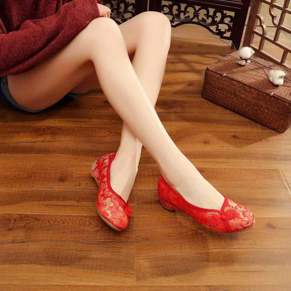 Veowalk ผ้าไหมปักผู้หญิงผ้าฝ้ายบัลเล่ต์จีนแบบดั้งเดิมงานแต่งงานเจ้าสาวรองเท้าลื่นบนสุภาพสตรี Ballerinas