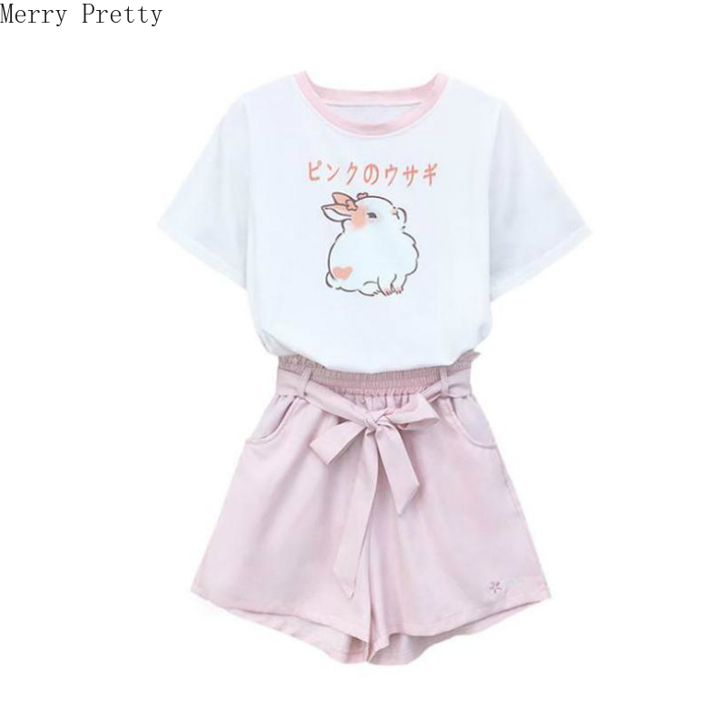 Women's Sets Cartoon Rabbit Print Cotton T Shirts And Lace Up Pockets Short Pants 2020 Spring Sweet Style Girl Two Piece Sets