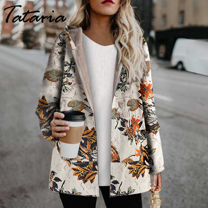 Tataria Winter Jacke für Frauen Hoodies Drucken Parka frauen Winter Mantel Weibliche Samt Verdicken Winter Mantel frauen Winter jacke