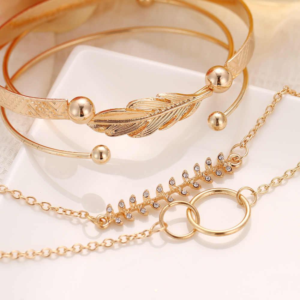 5 pçs/set Cor do Ouro Abrir Cuff Pulseiras Bangles para Mulheres Coreanas Geométrica Folha Charme Pulseiras Acessórios de Jóias das Mulheres