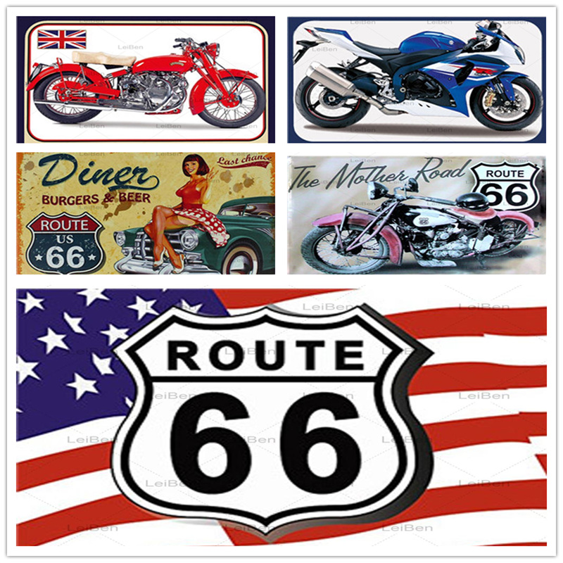 Route 66 Retro Metal Tin Sign The Motor Road Vintage Metal Plaque Bar Club Garage Home Decoration Art Poster Plate Wall Sticker