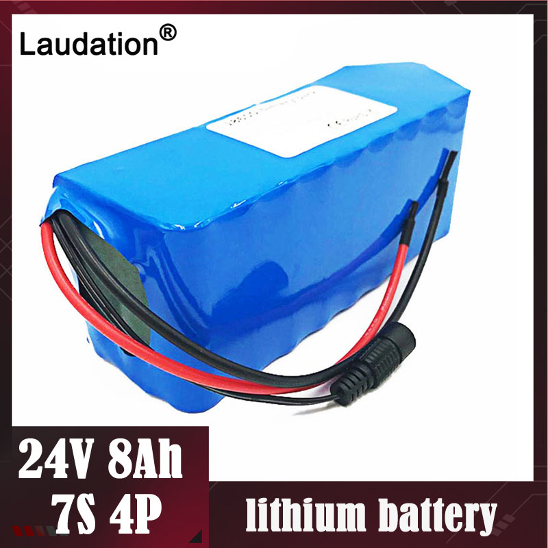 Laudation <font><b>24</b></font> <font><b>V</b></font> <font><b>Battery</b></font> pack 8ah 7S4P 15A BMS 250W 29.4V 8000mAh 18650 <font><b>batteries</b></font> with 15a bms for motor chair set Electric Power image