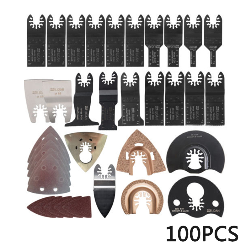 100pcs Multi Tool Oscillating Saw Blades Kit Metalworking Paint Remover Plastic For Fein Multimaster Master Power Cutter
