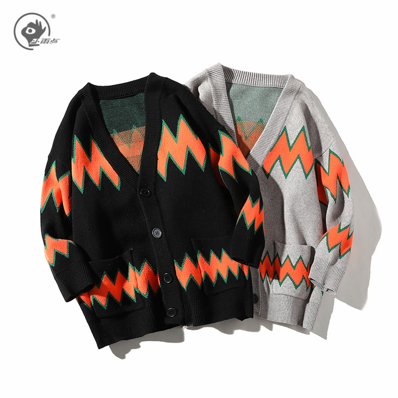 Little Rain Vintage Cardigan Sweater Men and Woman Sweater Mens Loose Sweater Coat 2020 Winter Sweater Men Sweaters for Couple